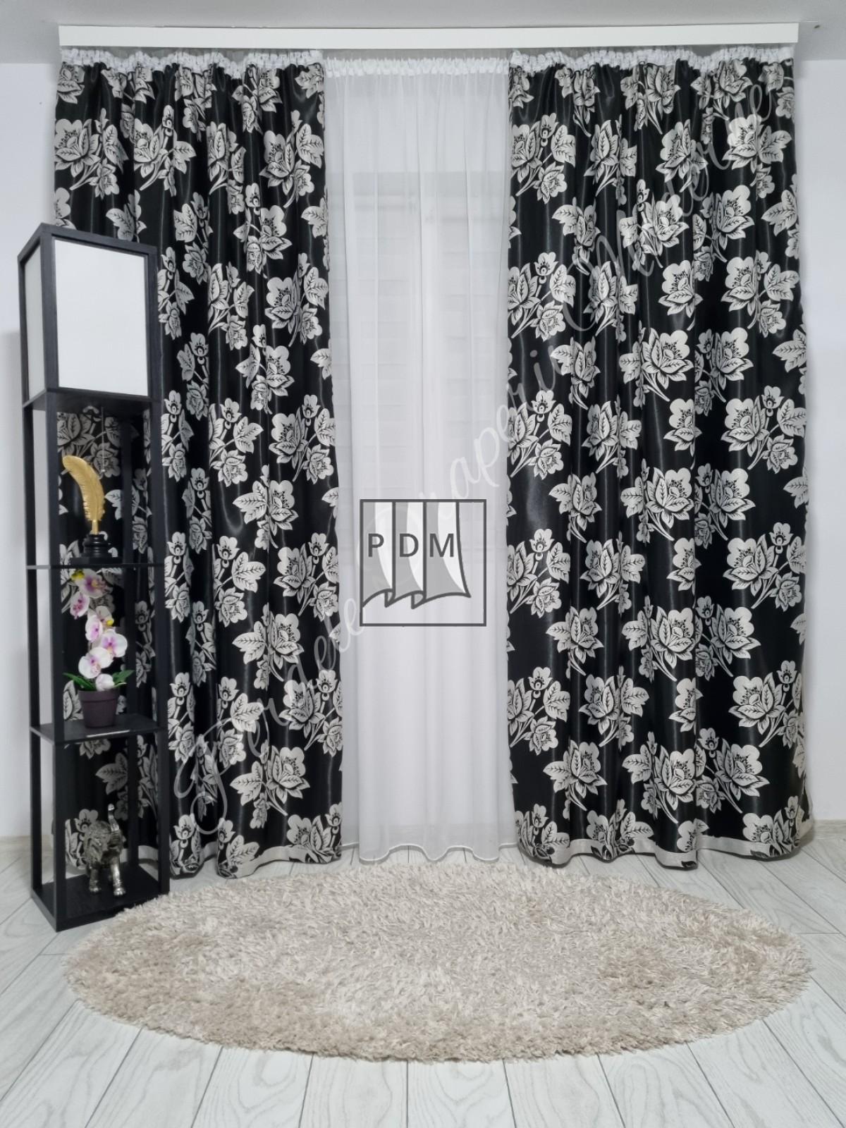 poze Draperie Blackout, negru/trandafiri gri