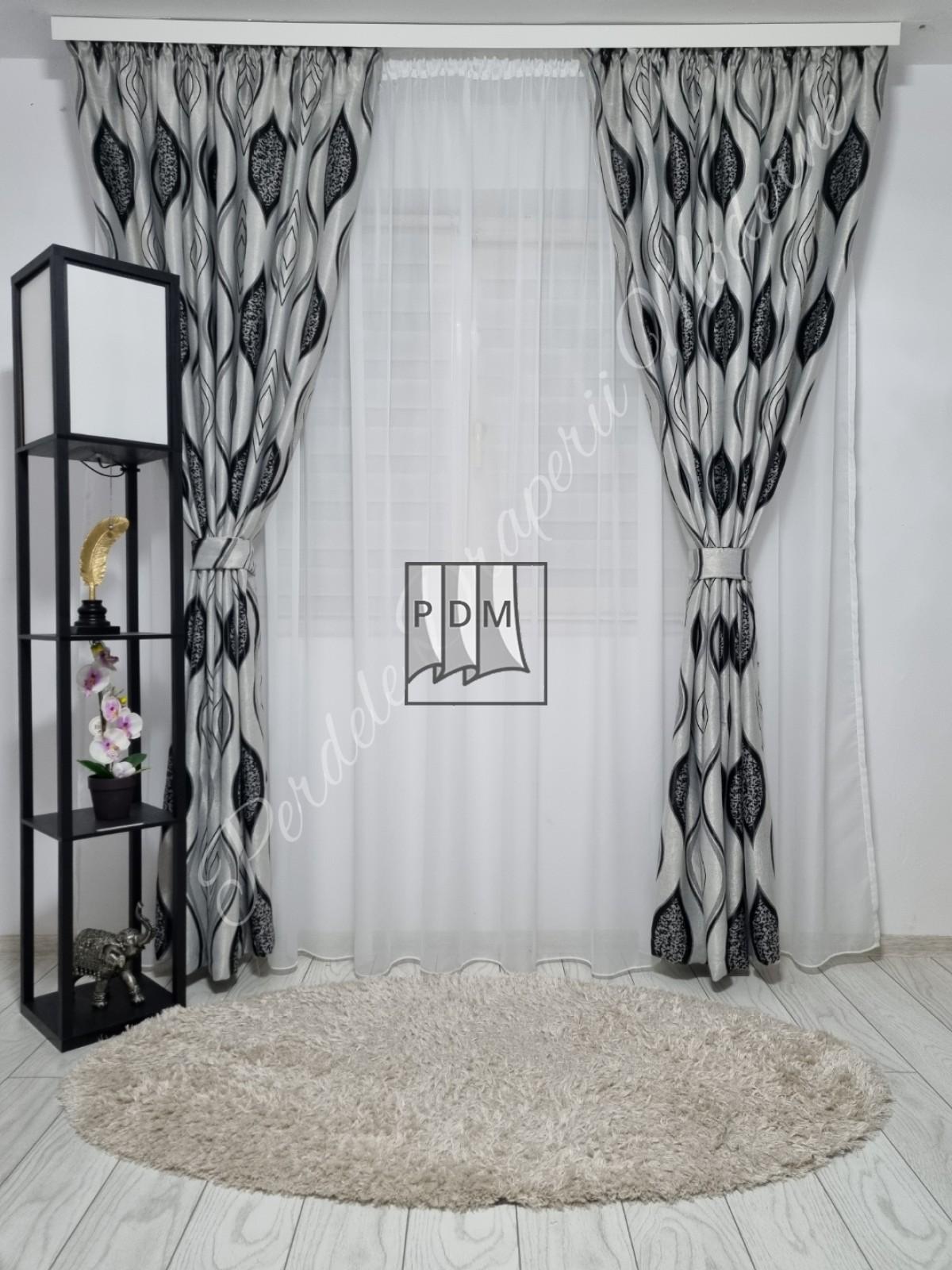 Draperie Blackout,gri/negru imagine 2
