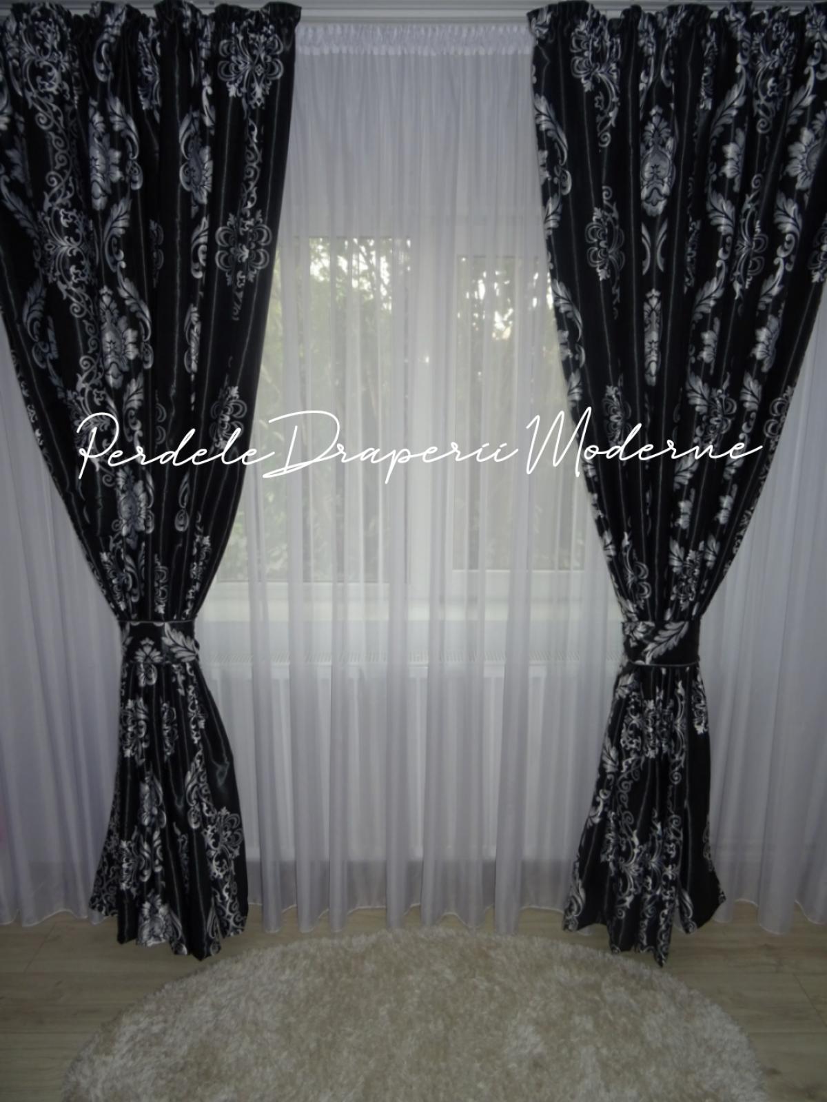 Draperie Blackout model baroc,negru/gri imagine 2