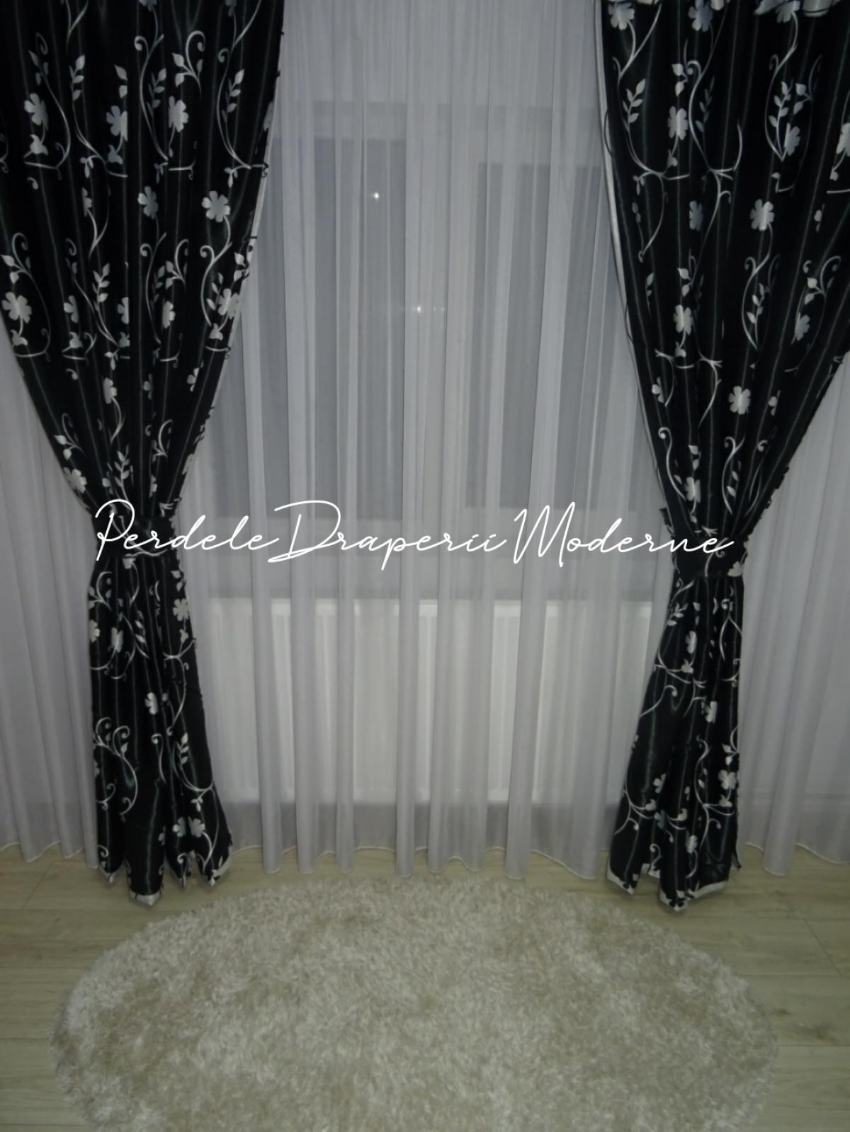 Draperie Blackout,negru/gri imagine 2